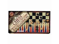 Wooden Chess Backgammon and Draughts **new unused**