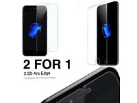 NEW 2 FOR 1 APPLE IPHONE 7 TEMPERED GLASS SCREEN PROTECTORS 2.5D TOUCH FEEL GOOD