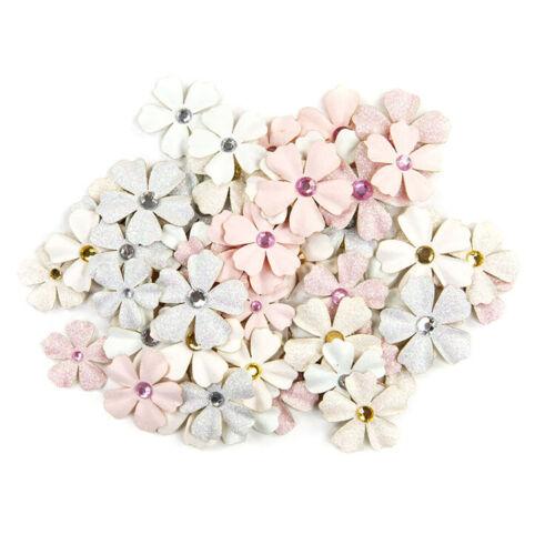 Prima Poetic Rose ALLEGRIA Paper Flowers Glitter Accents Gem Center 60 pc 637507
