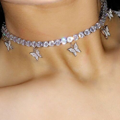 Butterfly Tennis Link Choker/Chain Necklace White Pink Plated FAST  SHIPPING!   eBay