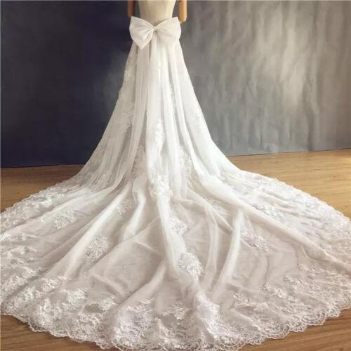 Vintage Wedding Dresses Detachable Train Bridal Lace Layer Bow Removable Train