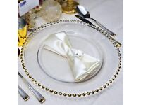 Wholesale 100 Transparent Beaded Glass Charger Plates For Events. Available inSilver & Gold