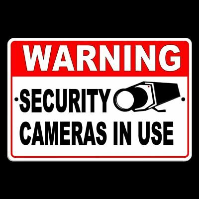 Warning Security Cameras In Use Metal Sign Surveillance Monitor S041