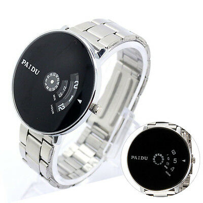 Men Stainless Steel Silver Band Black Turntable Dial Quartz Business Watch Paidu