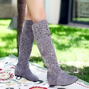 wedge sandals shoes womens summer knee high boots