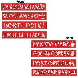 4 NORTH POLE STREET SIGNS Die-cut Cutout Decorations CHRISTMAS Holiday Party