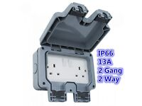 New Waterproof 13A 2 Gang 2 Way Switched Socket Double IP66 Safe Outdoor Impact Resistant