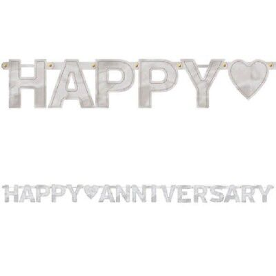 25th Happy Anniversary Banner Silver Party Supplies Decorations 7.8' (25th Anniversary Party Supplies)