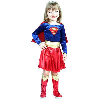 NEU Kostüm Mädchen Superman Superheld Kind Kinder Kostüm Supergirl Ages 2-7