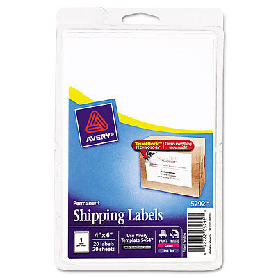 Avery Shipping Labels Wultrahold Ad Trueblock 4 X 6 White Pack Of 20