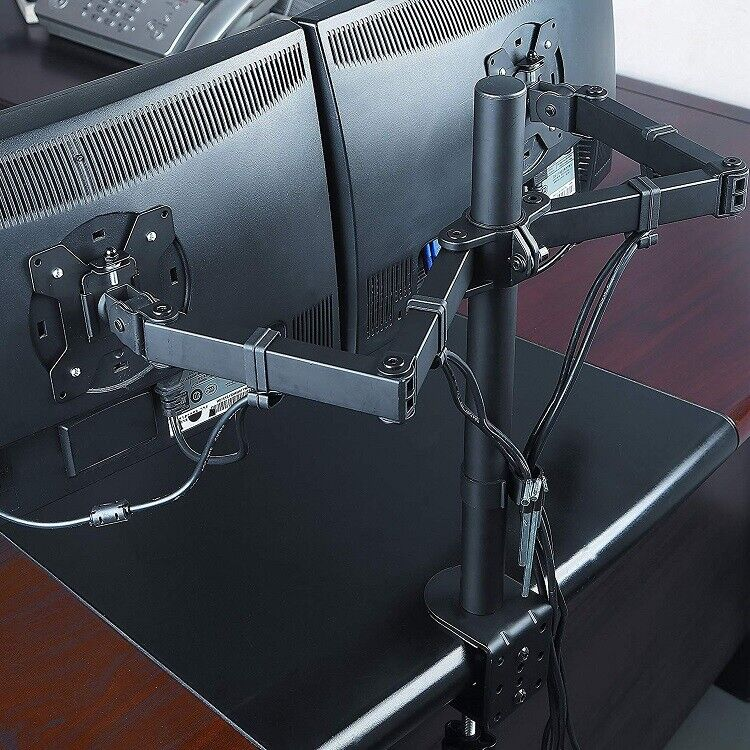 Dual Monitor Stand Mount Double Arm Computer For 13 - 27 Inch LCD LED Screens BL