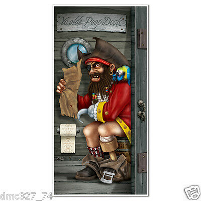 1 Party Decoration Prop PIRATE CAPTAIN BATHROOM Restroom Novelty DOOR COVER
