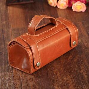 Brown PU Leather Travel Toiletries Cosmetic Mens Bag Shaving Wash Organizer Case