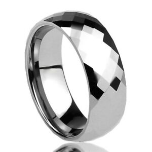 Tungsten Carbide Ring Faceted Scratch Proof 12mm Size 8