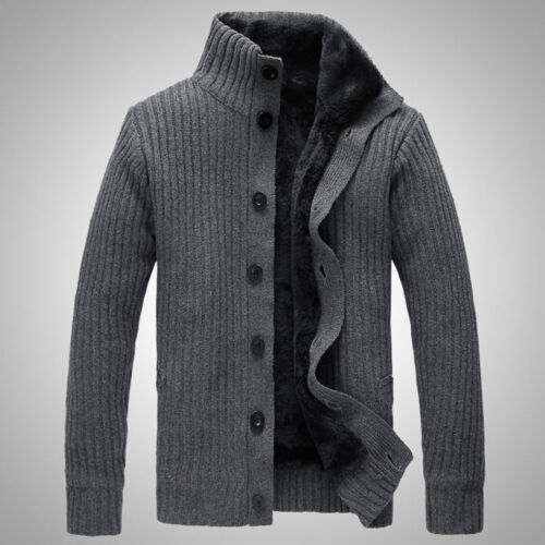 8a600dad2dc Details about Korean Slim Fit Men Fur Lined Thicken knitted sweater  Knitwear Cardigan Coat New
