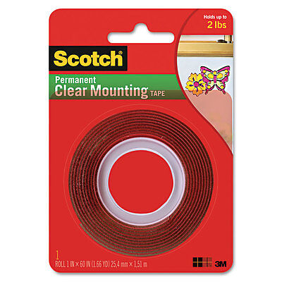 Scotch Double-sided Mounting Tape Industrial Strength 1 X 60 Clearred Liner