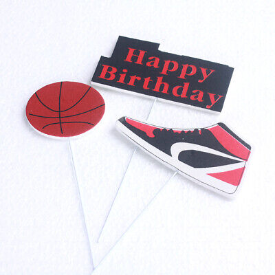 6pcs Basketball Sneakers Happy Birthday Cake Topper Party supplies Favor E (Basketball Birthday Supplies)