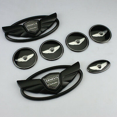 USA Seller Hyundai Genesis Coupe Matte Black WING Logo Emblem Set 7pcs