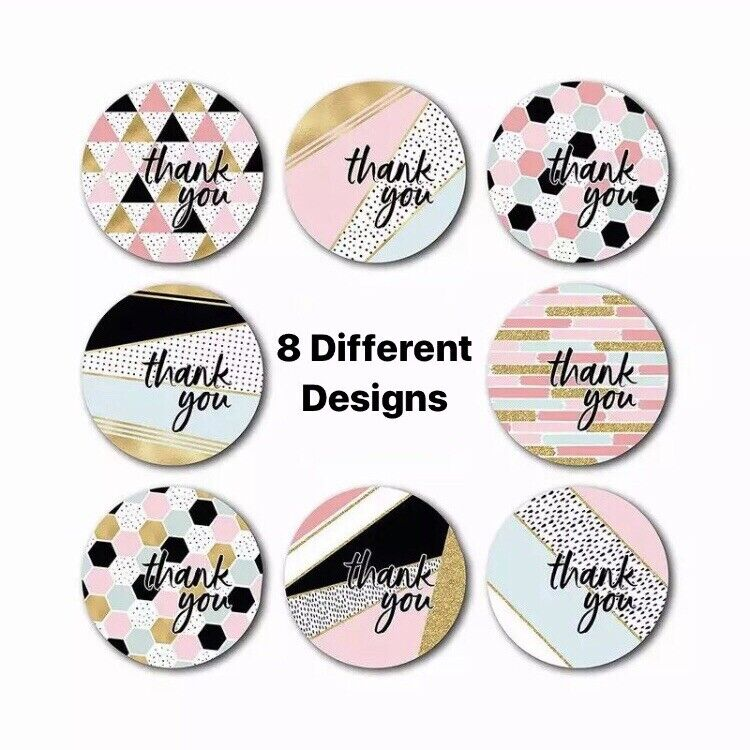50 Assorted 1 Inch Thank You Stickers