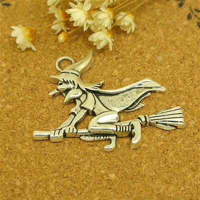 20x witch riding a broom charms,cute charms for DIY,silver color,lovely - Diy Witch Broom