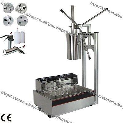 3-hole 4 Nozzles 5l Manual Spanish Donut Churros Maker Machine W Fryer Filler