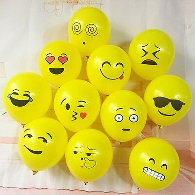 10Pcs Emoji Face Latex Balloons Birthday Wedding Party Decoration Supplies - Birthday Emojis
