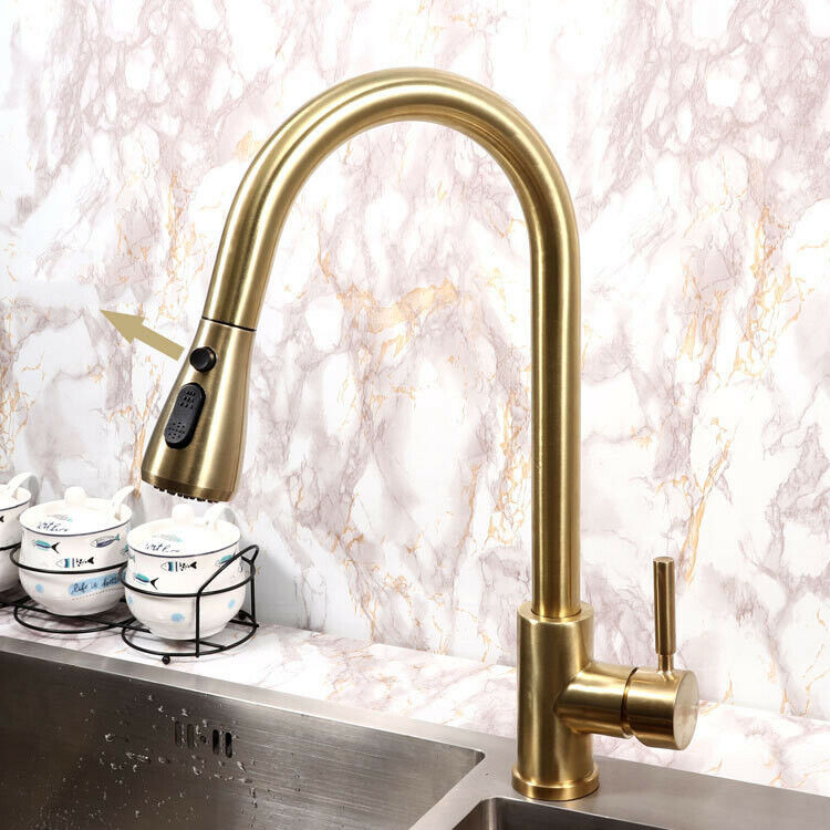 Details About Brushed Gold Kitchen Faucet Deck Mount Single Holder One Hole Stainless Steel