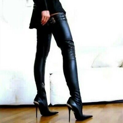 Sexy Women Thigh High Boots Heels Stiletto Black Boots Shoes Woman Plus Size -
