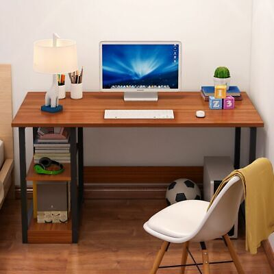 100cm Corner Computer Desk W Side Shelves Shelving Storage PC Table Home Office