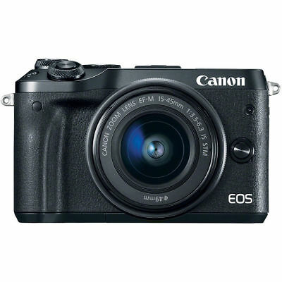 Canon EOS M6 Mirrorless Digital Camera with EF-M 15-45mm Camera Kit - Black