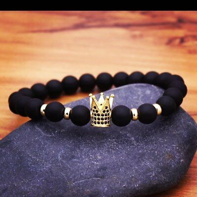 Fashion Unisex CZ Gold Crown Natural Stone Matte Black CZ Copper Bead Bracelets