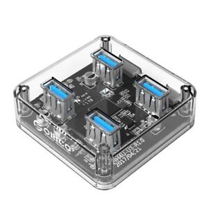 ORICO 4 Port USB 3.0 HUB - Micro USB Power - Transparent with Blue LED lighting