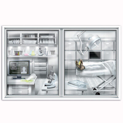 Halloween Laboratory Decorations (Halloween Murder Mystery Csi Party Decoration Prop Wall Mural Laboratory)