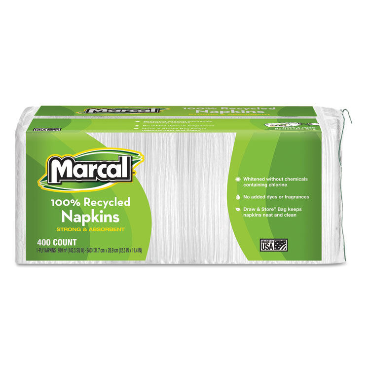 Marcal 100% Recycled Lunch Napkins 1-Ply 12 1/2 x 11 2/5 White 400/Pack 6506PK