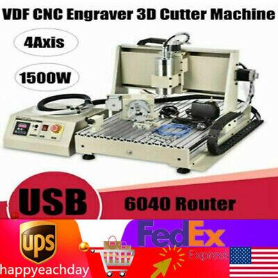 Usb Cnc Router 6040z 4 Axis Engraver Engraving Machine Metal Woodwork 1500w Vfd