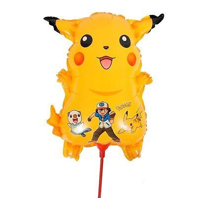 Ballon-pokemon (LOT 2 BALLON POKÉMON PIKACHU 35CM AVEC BÂTON / MANGA ANNIVERSAIRE GARÇON FETE)