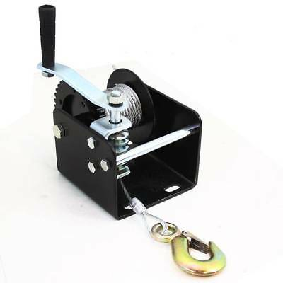 2000lb Worm Gear Winch Hand Cable Trailer Truck Boat Manual Crank Portable Mount Portable Winch Mount