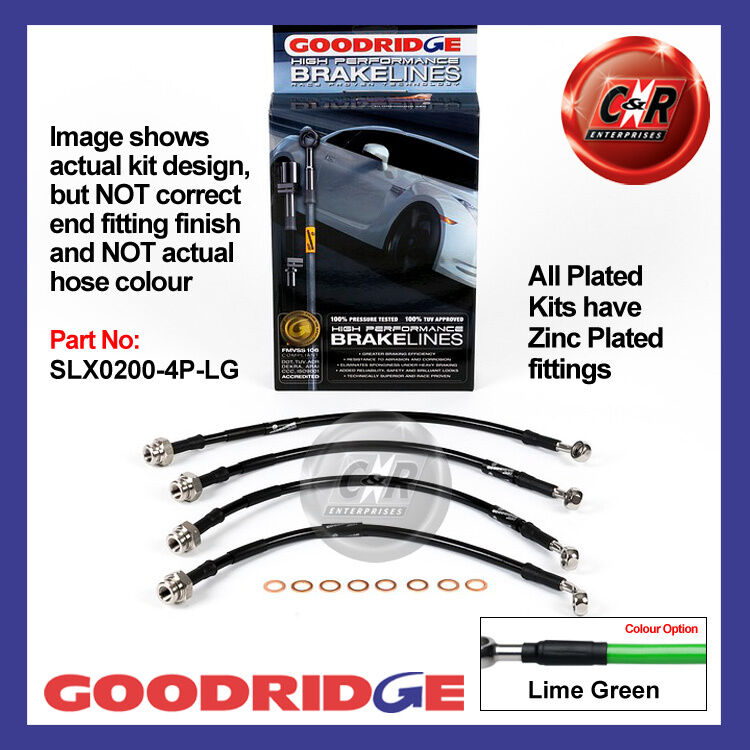 Lexus IS200 99 on Goodridge Zinc Plated Lime Gr Brake Hoses SLX0200-4P-LG