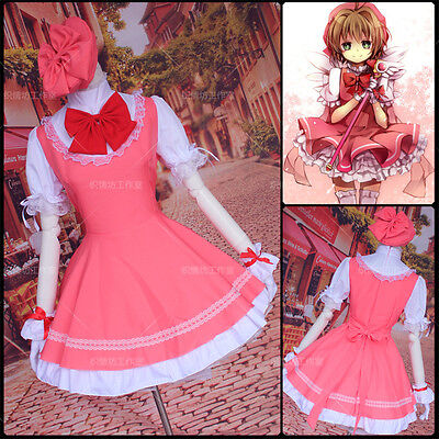 Japan Cosplay  Costume Card Captor Sakura Maid Fancy dress outfit +hat fit size