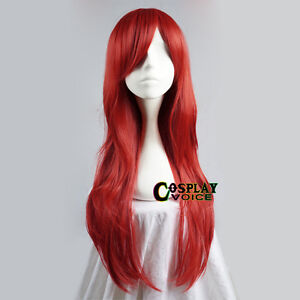 Fairy Tail Erza Scarlet 100cm Anime Costume Cosplay Wig + CAP +Tracking Number