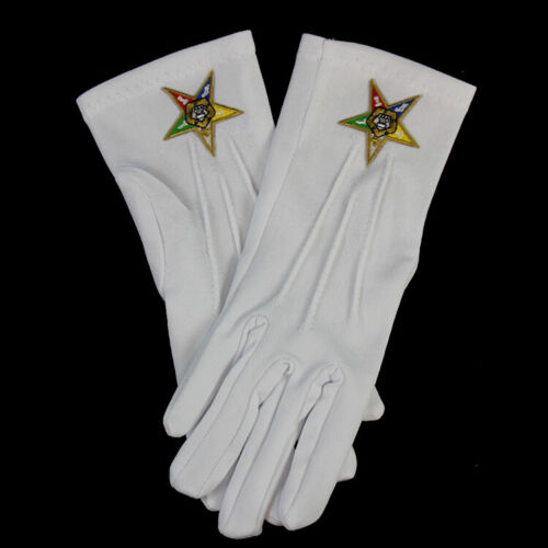 Order of the Eastern Star OES White Gloves with Symbol-New!