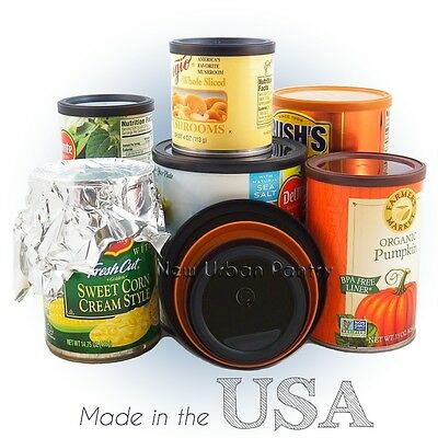 PANTRY LIDS Reusable Plastic Tin Can Covers/Couvercles for canned food 4 Sizes Tin Food Cans