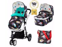 Cosatto space racer carrycot pushchair carseat and isofix base. Practically new!