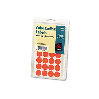 Avery Printable Removable Color-coding Labels 34 Dia Neon Red 1008pack