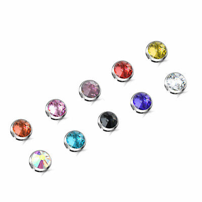 New 14G 3-4-5mm Flat Back Top Dermal CZ Stainless Steel Anchor Top Head Crystal