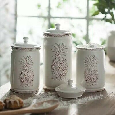 3 Cream Colored Ceramic Pineapple Theme Kitchen Canisters