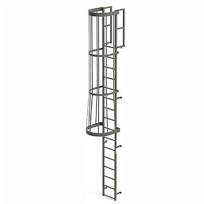 Steel Fixed Ladder - NEW! EGA Steel Fixed Cage Ladder, 16 Step Gray!!