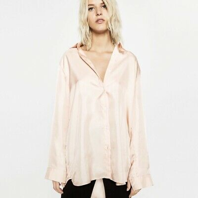 Zara Pale Pink Silk Shirt Rose Size L UK 14