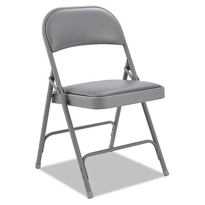 Alera Steel Folding Chair With Two-brace Support Padded Backseat Light Gray