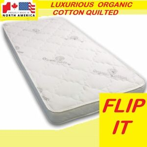 Luxurious Organic Cotton Quilted Flippable Twin Foam Mattress..